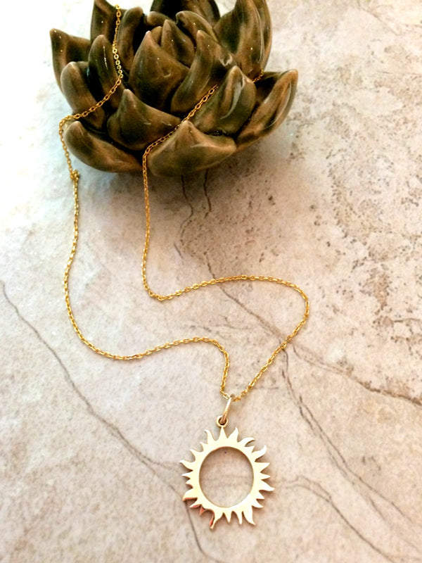 Golden Sun Necklace | Gold Vermeil Pendant Chain | Light Years Jewelry
