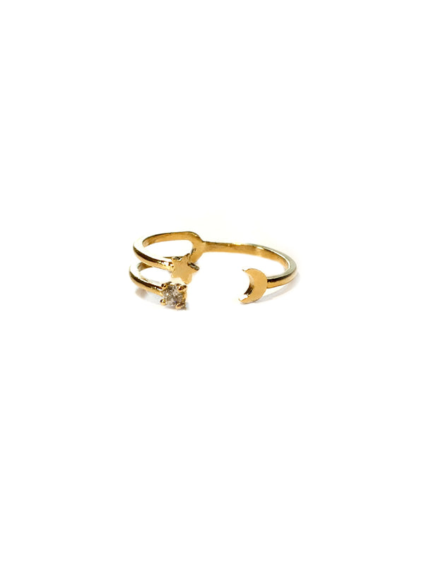Moon & Star Wrap Ring | Gold Silver Fashion Celestial CZ | Light Years