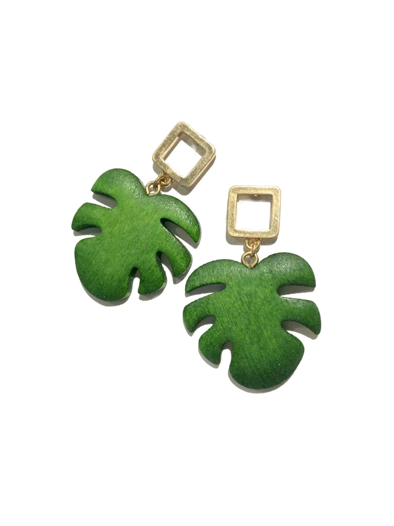 Wooden Monstera Leaf Earrings | Gold Plated Posts | Light Year Jewelry