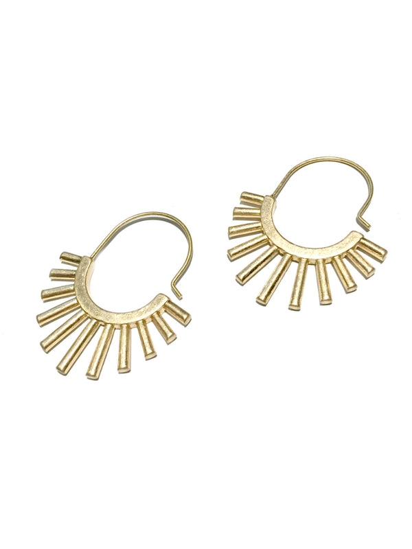 Sun Burst Hoops | Matte Gold Fashion Earrings | Light Years Jewelry