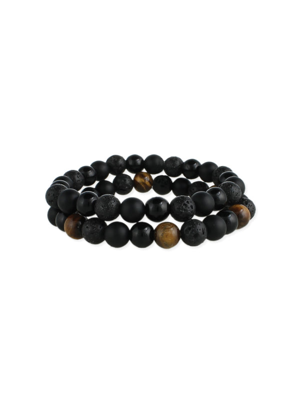Men's Lava Bead & Stone Bracelet Set | Tiger Eye | Light Years Jewelry