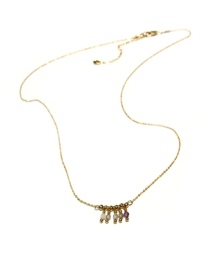 Gemstone Fringe Necklace | Gold Plated Pendant | Light Years Jewelry