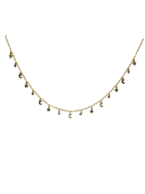 Star & Moon Charm Necklace | Gold Fashion Choker | Light Years Jewelry