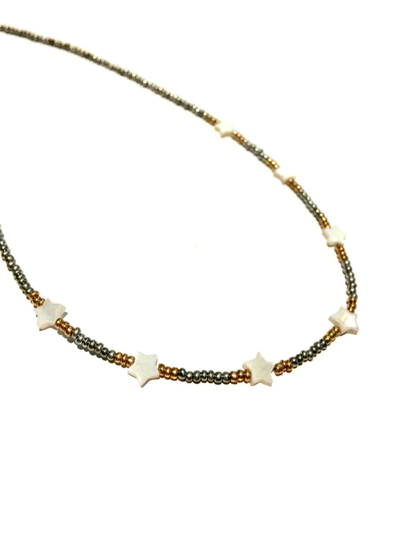 Shell Star Beaded Choker | Beaded Fashion Necklace | Light Years