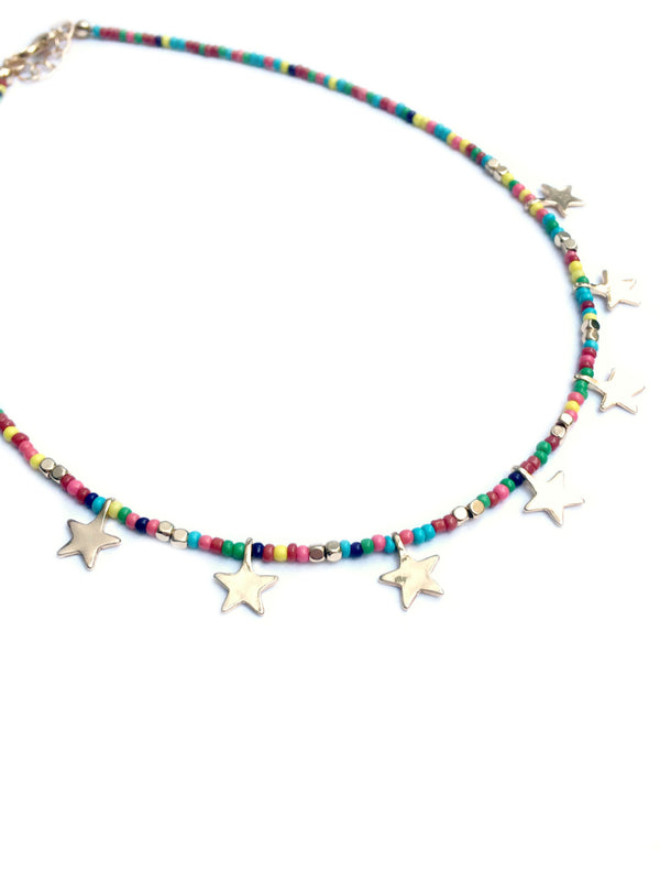 Rainbow Star Choker | Beaded Fashion Necklace | Light Years Jewelry