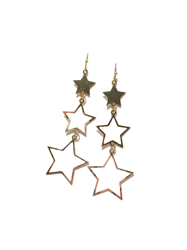 White & Gold Star Dangles | Statement Fashion Earrings | Light Years