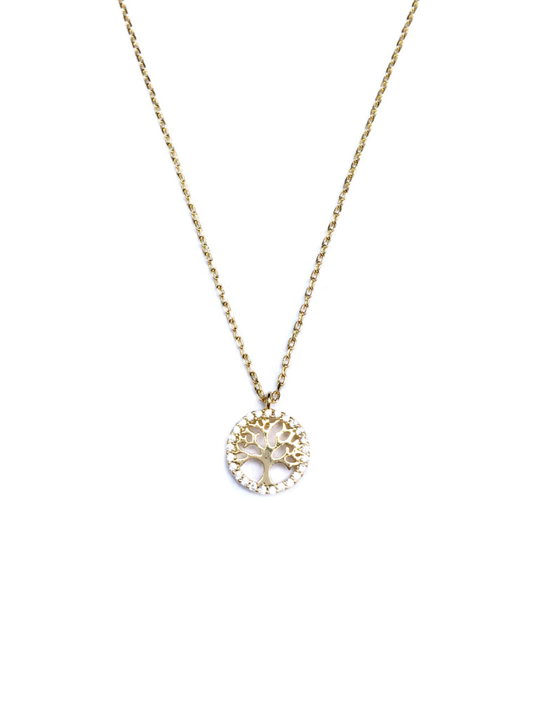 CZ Tree of Life Necklace | Gold Plated Chain Pendant | Light Years
