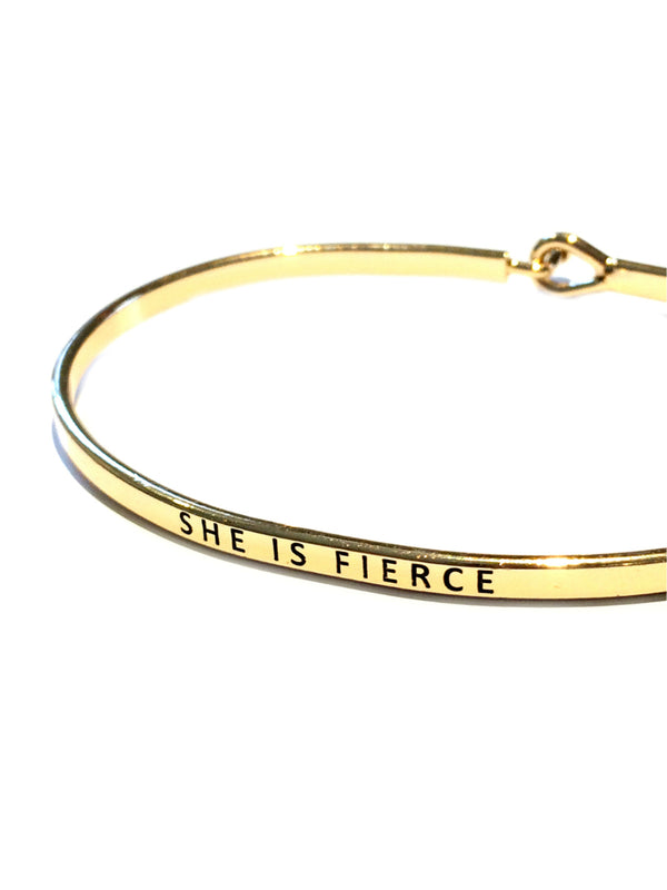 """She is Fierce"" Stamped Bracelet 