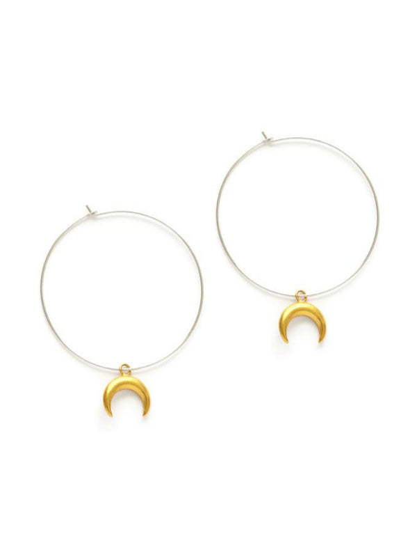 Crescent Moon Hoops | Sterling Silver Earrings | Light Years Jewelry