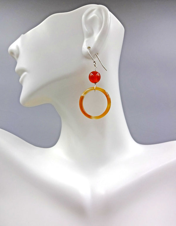 Carnelian Ring Dangles | Sterling Silver Gemstone Earrings | Light Years