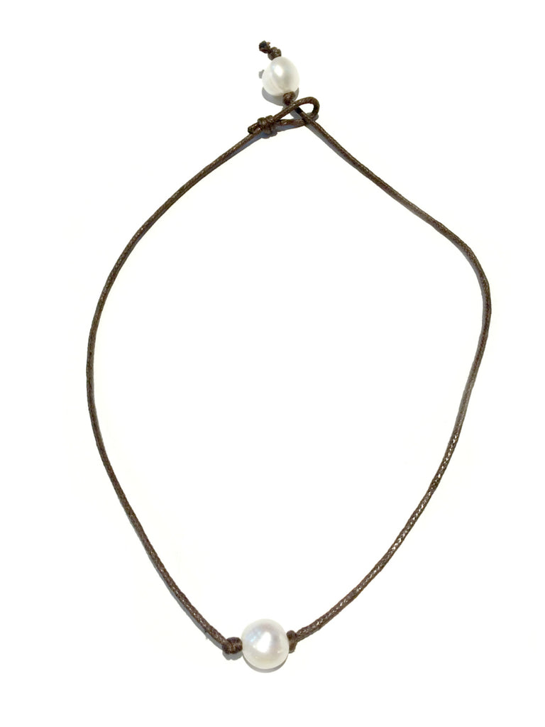 Pearl & Leather Choker | Adjustable Cord Necklace | Light Years Jewelry