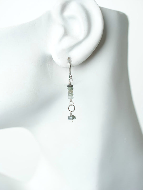 Green Moss Aquamarine Dangles | Sterling Silver Earrings | Light Years