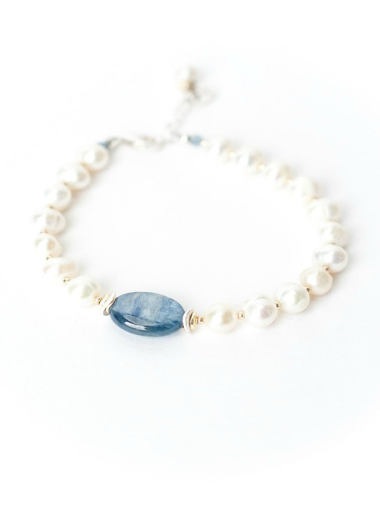 Seaside Kyanite & Pearl Bracelet | Handmade Sterling Silver | Light Years