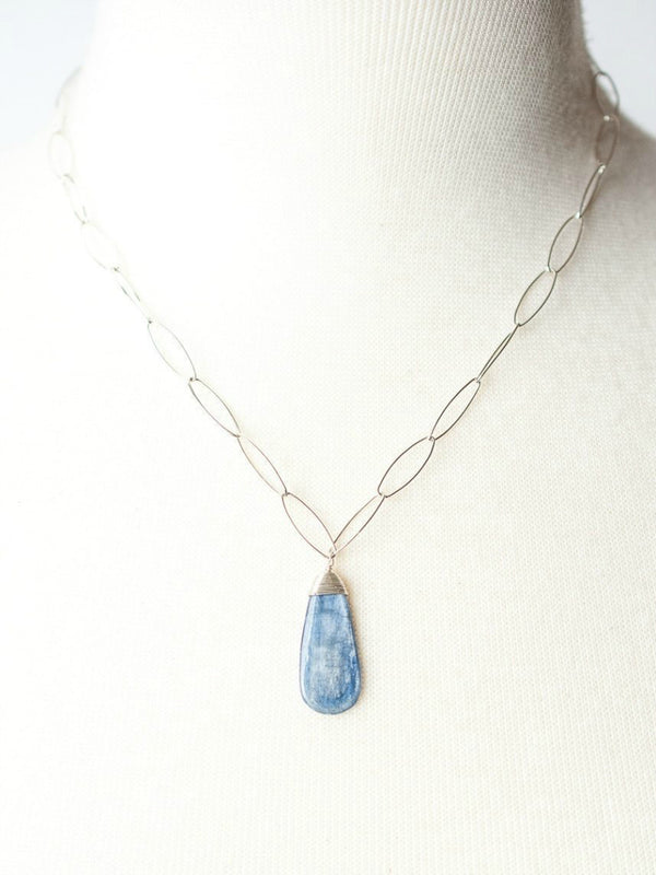 Kyanite Teardrop Pendant Necklace | Sterling Silver Chain | Light Years