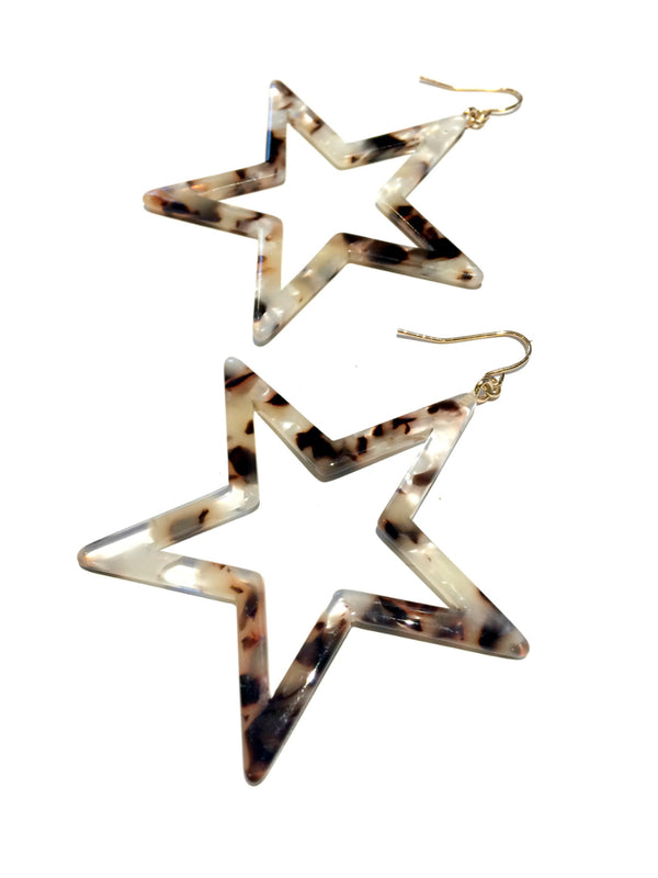 Tortoiseshell Star Statement Earrings | Gold Plated Dangles | Light Years