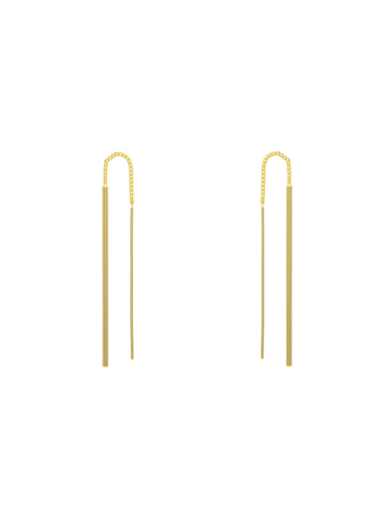 Tube Bar Ear Threaders | Gold Plated Earrings | Light Years Jewelry