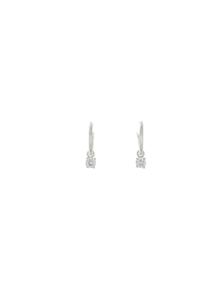 CZ Dangle Pincatch Hoops | Silver Gold Plated Earrings | Light Years