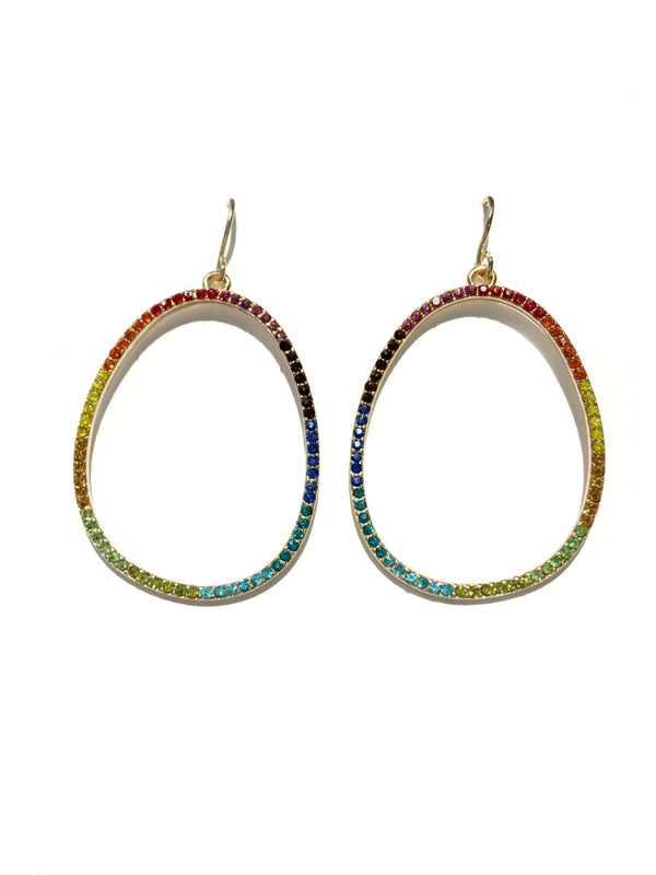 Rainbow CZ Oval Earrings | Gold Crystal Fashion Dangles | Light Years