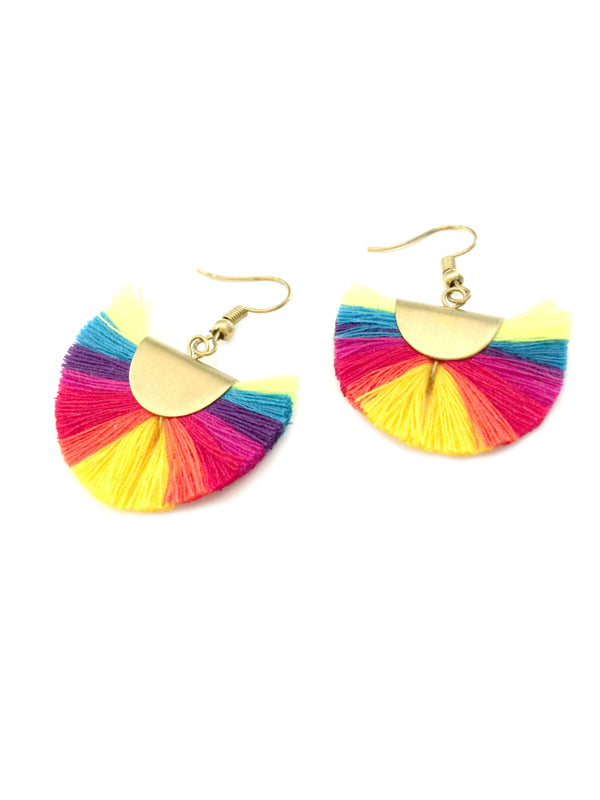 Rainbow Tassel Fan Dangles | Colorful Statement Earrings | Light Years