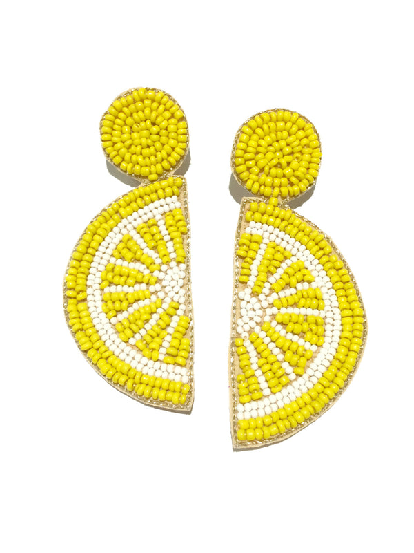 Fruit Slice Statement Earrings | Beaded Fashion Posts | Light Years