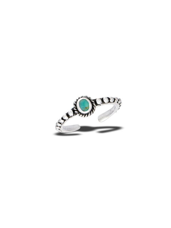 Turquoise Dot Adjustable Toe Ring | Sterling Silver | Light Years