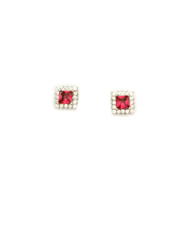 Elegant Bordered CZ Posts | Sterling Silver Stud Earrings | Light Years