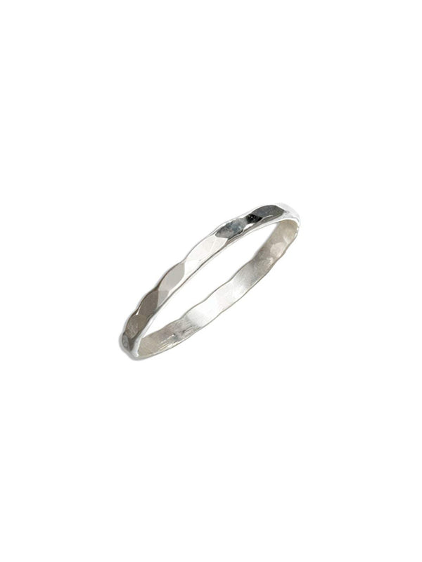 Thin Hammered Band | Sterling Silver Ring Size 5 6 7 8 | Light Years