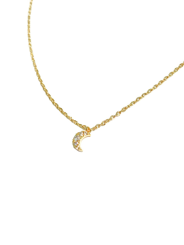 CZ Crescent Choker Necklace | Gold Silver Chain Pendant | Light Years