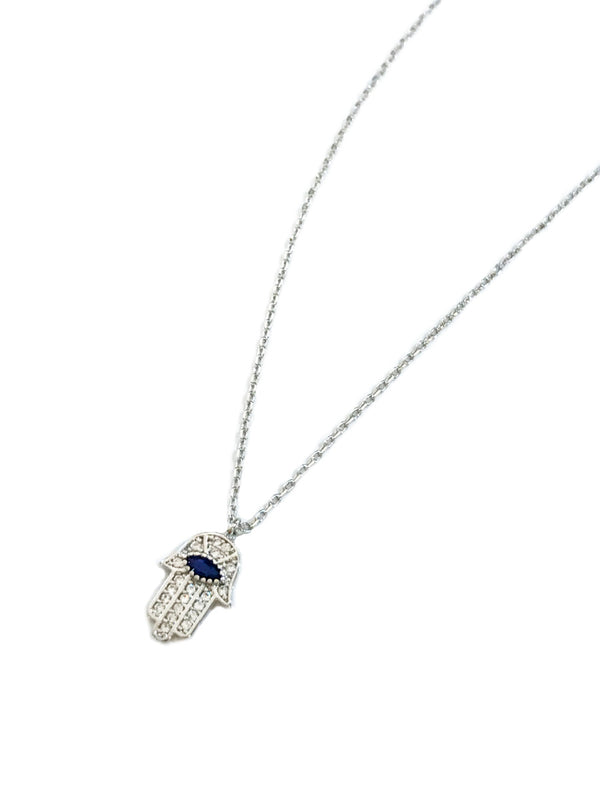 CZ Hamsa Choker Necklace | Gold Silver Plated Chain Pendant | Light Years