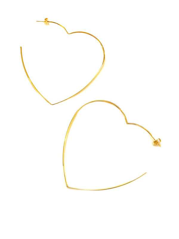 Heart Statement Hoops | Gold Plated Posts Studs Earrings | Light Years