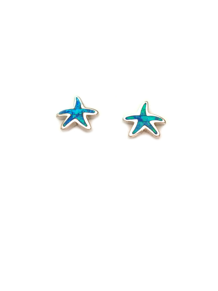 Blue Opal Starfish Posts | Sterling Silver Stud Earrings | Light Years
