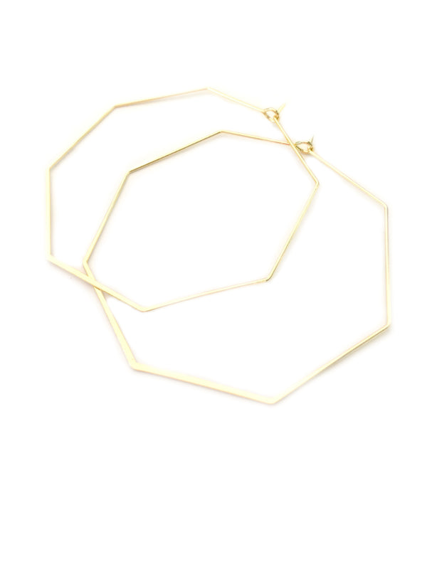 Gold Octagon Hoops | Geometric Fashion Earrings | Light Years Jewelry