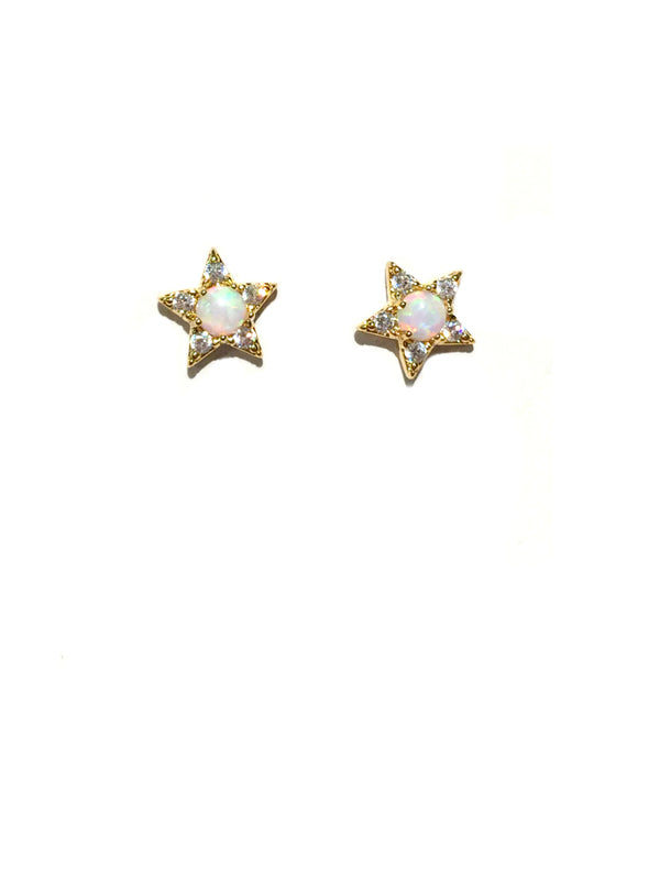 Opal & CZ Star Posts | Gold Plated Studs Earrings | Light Years Jewelry