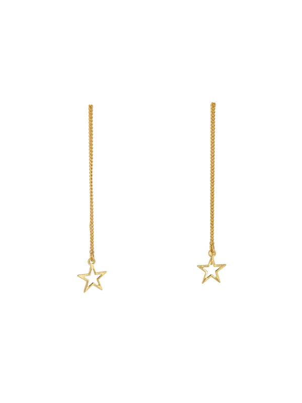 Open Star Ear Threads | Gold or Silver Earrings | Light Years Jewelry
