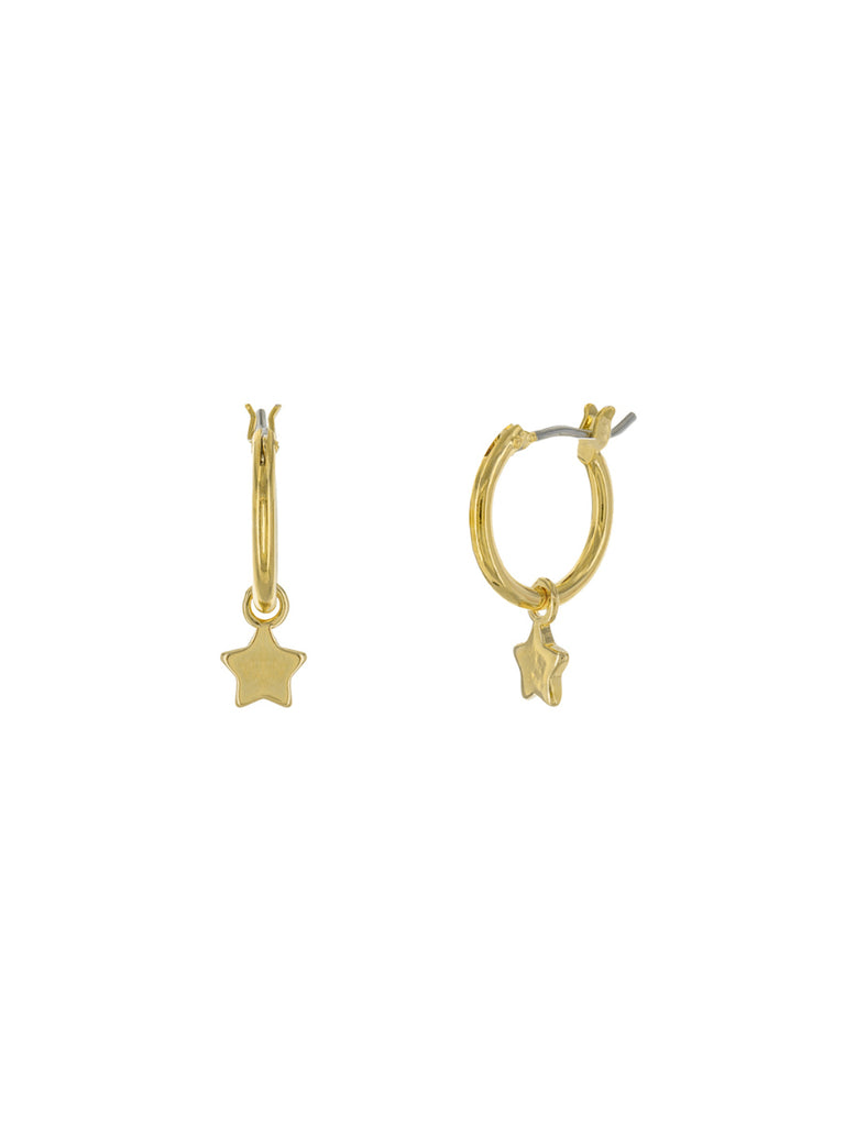 Star Charm Hoops Dangles | Gold Plated Earrings | Light Years Jewelry