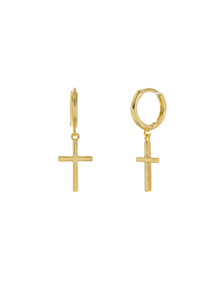 Long Cross Huggie Hoops | Gold Plated Earrings | Light Years Jewelry