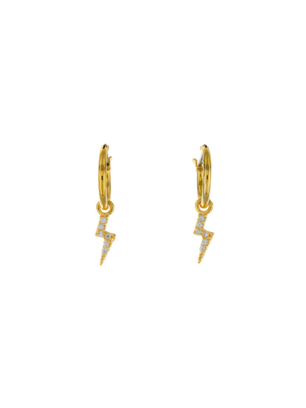CZ Lightning Bolt Hoops | Gold Plated Earrings | Light Years Jewelry