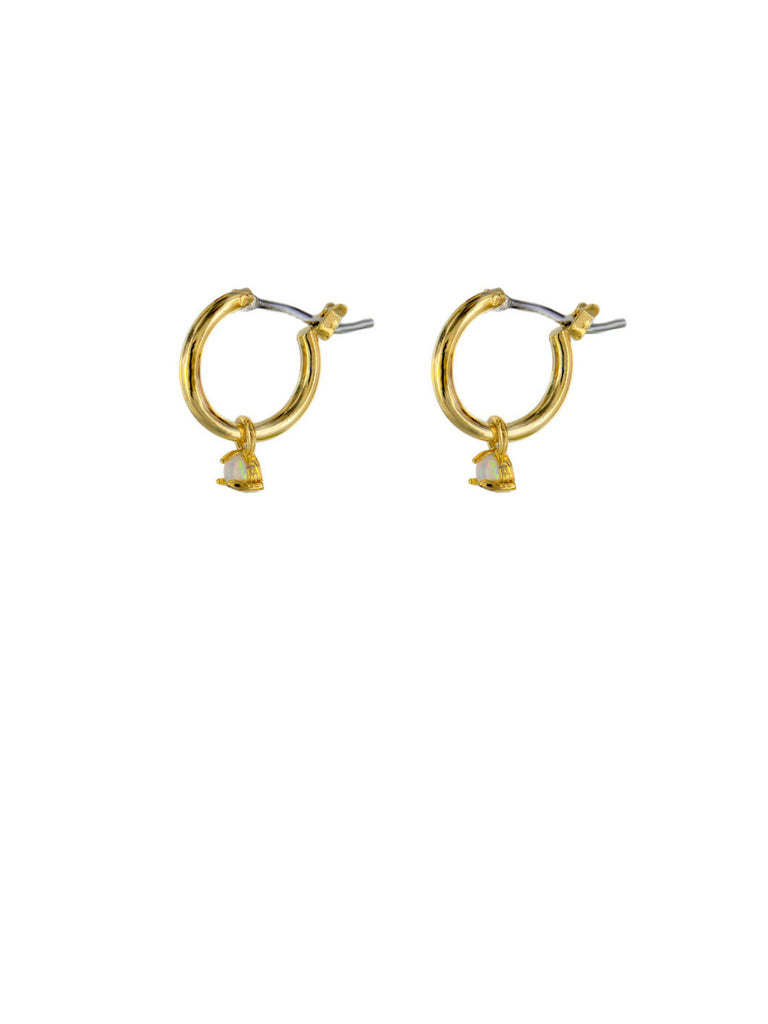 Opal Dangle Hoops | Gold Plated Pincatch Earrings | Light Years Jewelry
