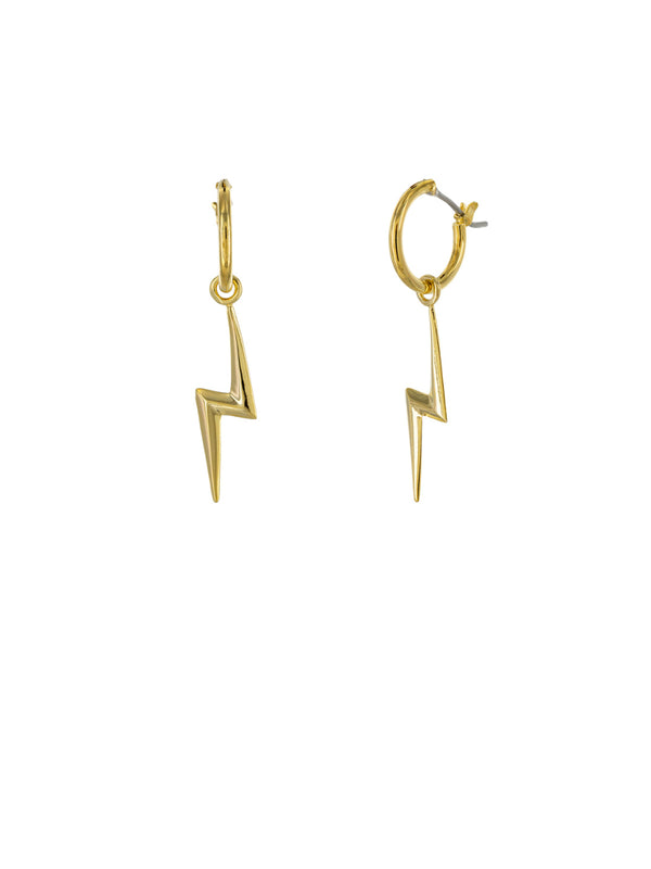 Long Lightning Bolt Hoops | Gold Plated Earrings | Light Years Jewelry