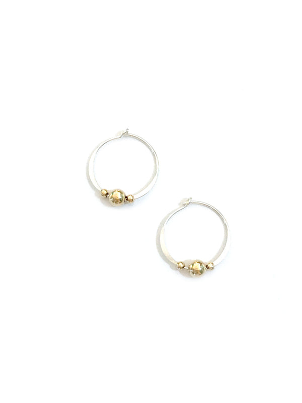 Mix Metal Beaded Hoops | Sterling Silver Gold Fill Earrings | Light Years