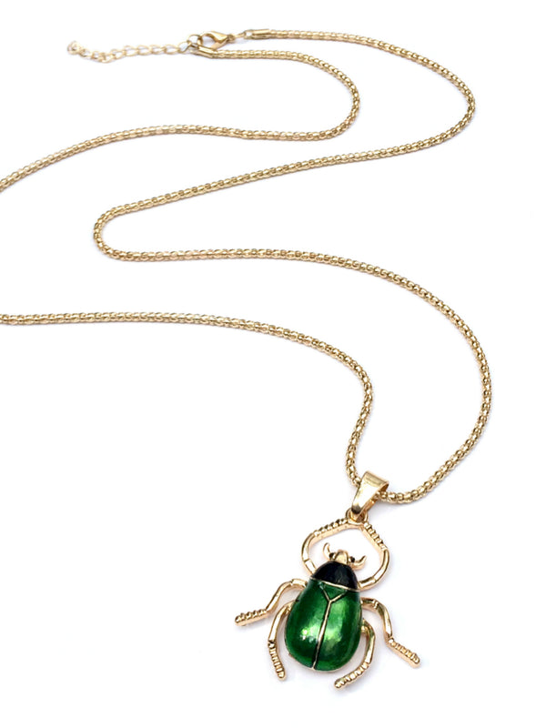 Long Green Beetle Necklace | Gold Enamel Fashion Pendant | Light Years