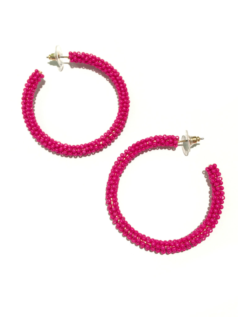 Seed Bead Hoops | Pink Blue Fashion Earrings | Light Years Jewelry