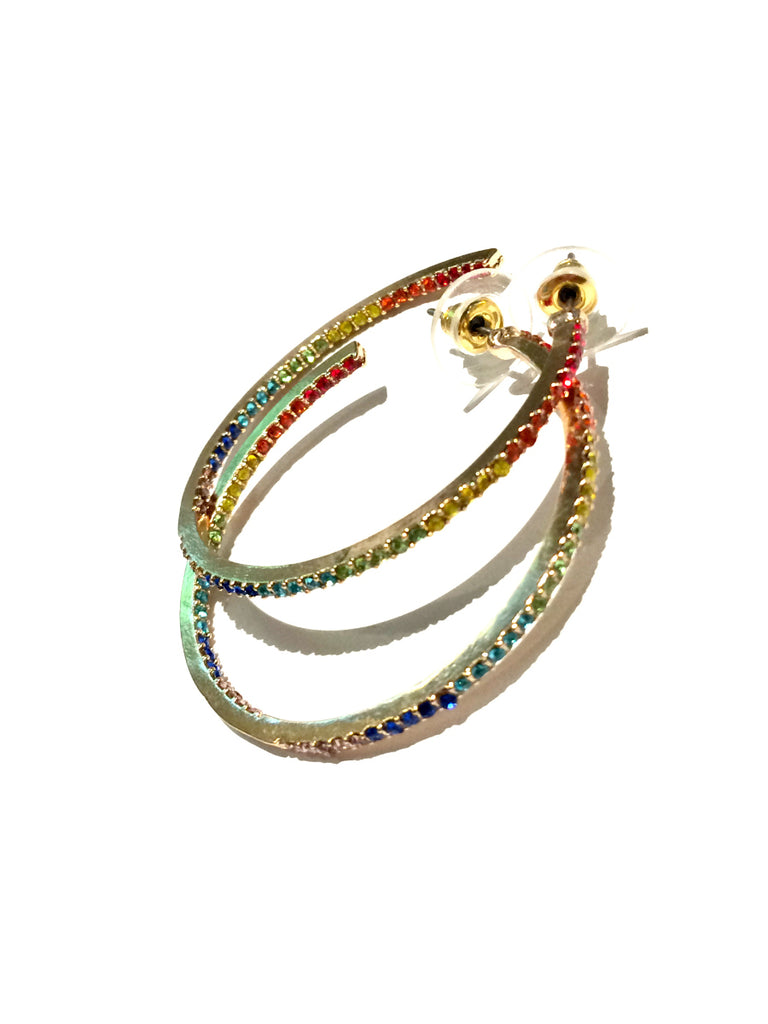 Rainbow Crystal Hoops | Gold Fashion Stud Earrings | Light Years Jewelry