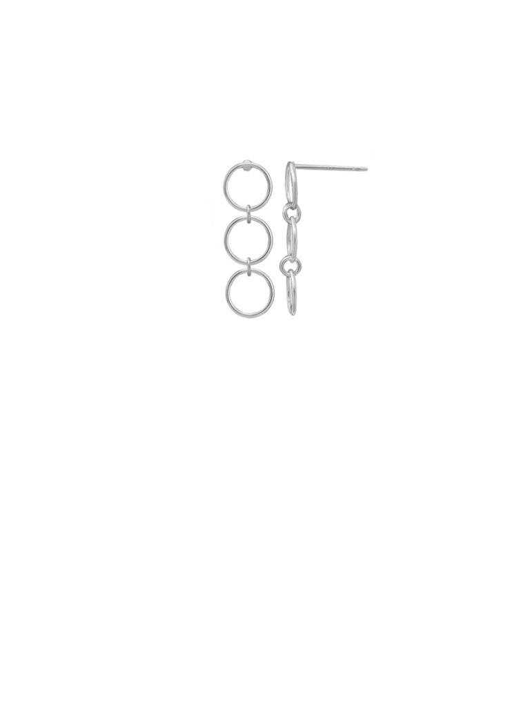 Three Linked Rings Posts | Sterling Silver Stud Earrings | Light Years