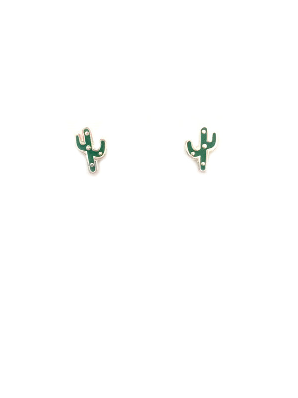 Enamel Cactus Posts | Sterling Silver Stud Earrings | Light Years