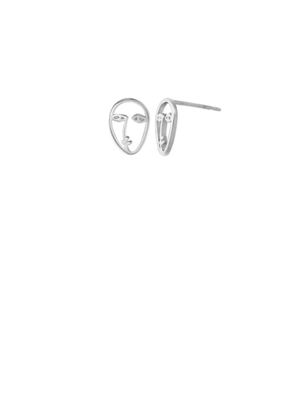 Face Outline Posts | Sterling Silver Stud Earrings | Light Years Jewelry