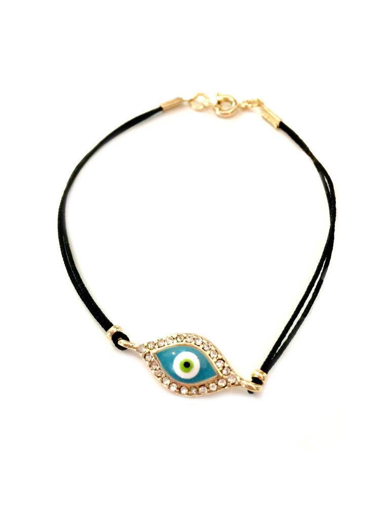 Enamel Eye Cord Bracelet | Gold Fashion CZ Charm | Light Years Jewelry