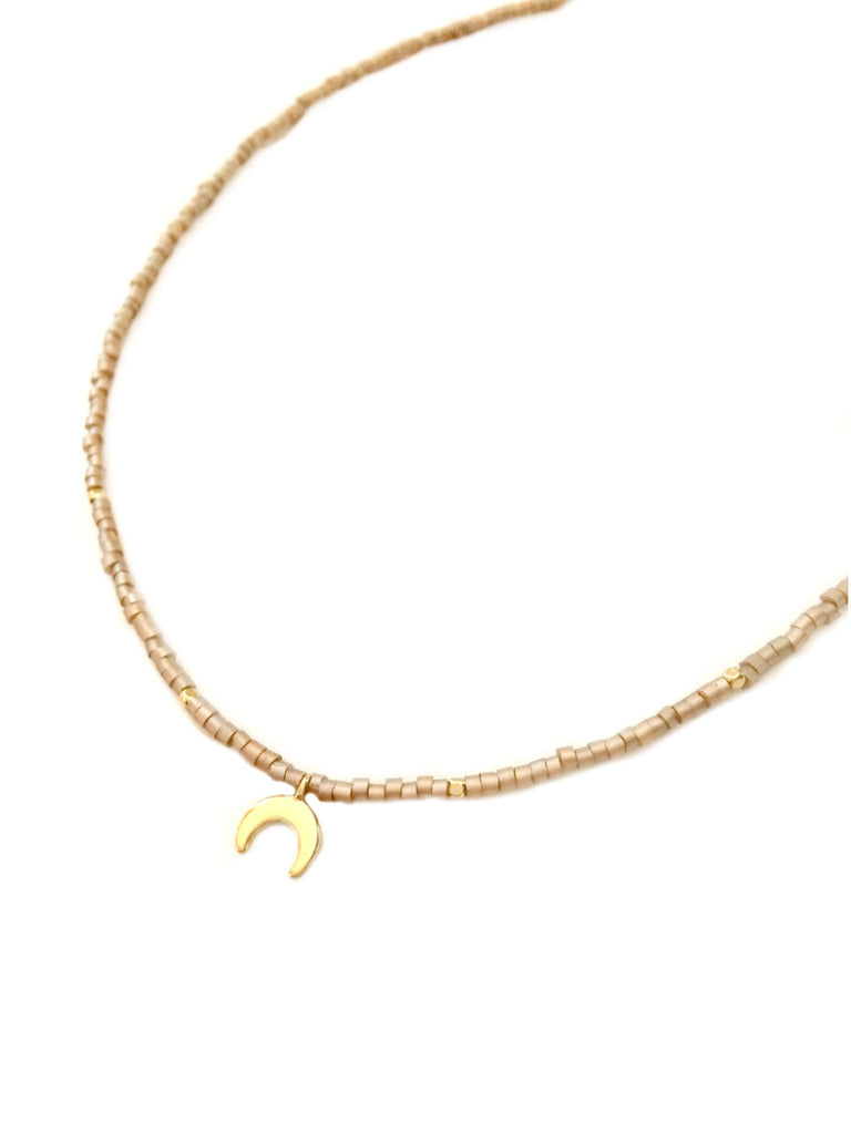 Crescent Moon Beaded Choker | Gold Fashion Necklace | Light Years