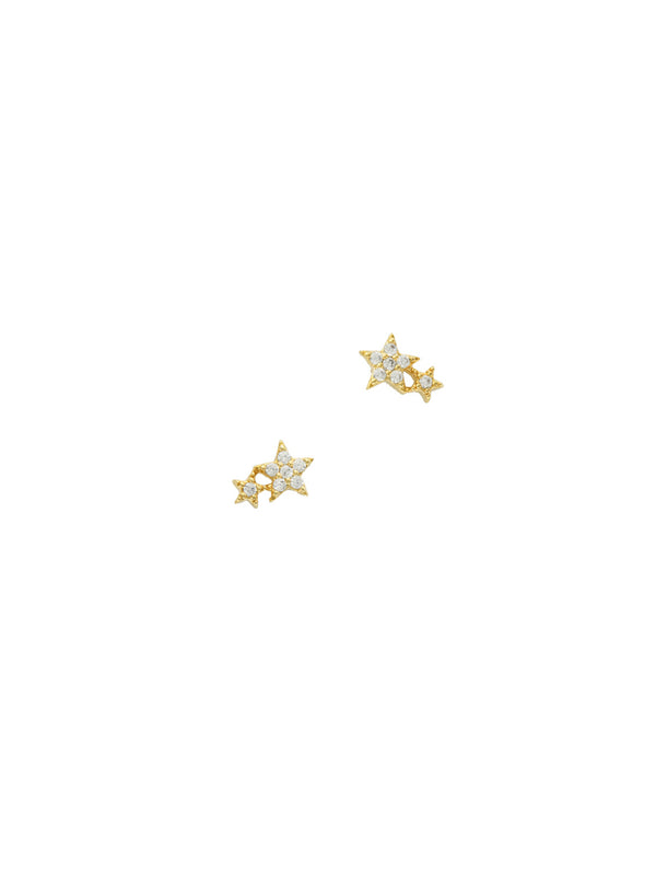 Double CZ Star Posts | Sterling Silver Studs Earrings | Light Years