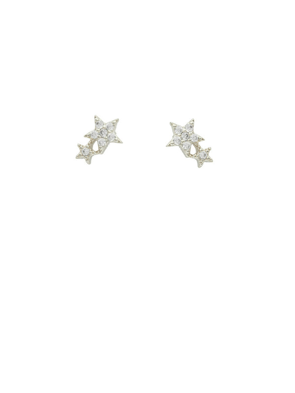 Double CZ Star Posts | Stelring Silver Studs Earrings | Light Years